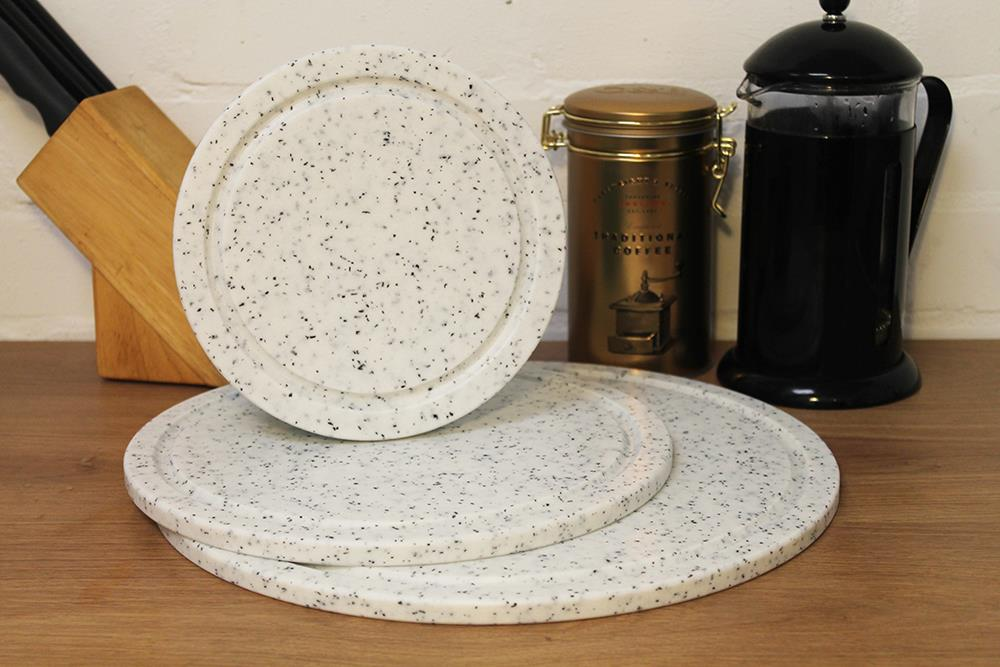 APLAS White Marble Effect Round Chopping Board